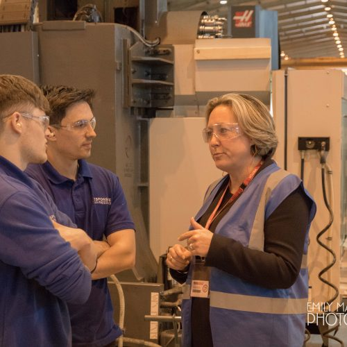 MP Ms Trevelyan visits Pearson Engineering Ltd & Responsive Engineering Ltd in Newcastle.  Pictured here with Apprentices John McReady and Luke Staples.
