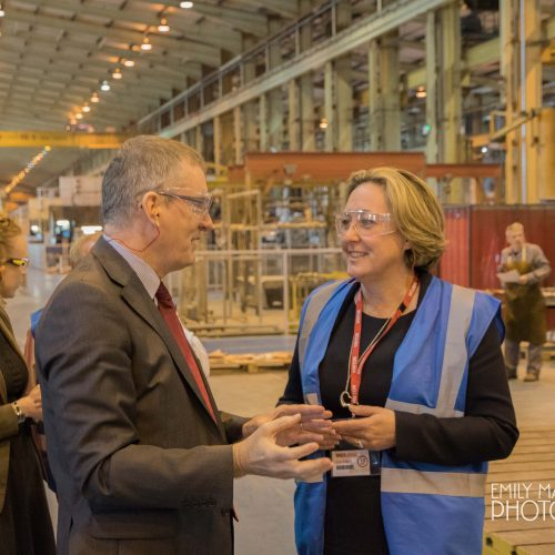MP Ms Trevelyan visits Pearson Engineering Ltd in Newcastle.  Pictured with Managing Director, Craig Priday in May 2018.